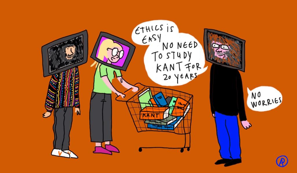 Een tekening van Charlie die aan Astrid en Vasilis vertelt dat je geen kant hoeft te hebben gestudeerd om iets over ethiek te mogen zeggen